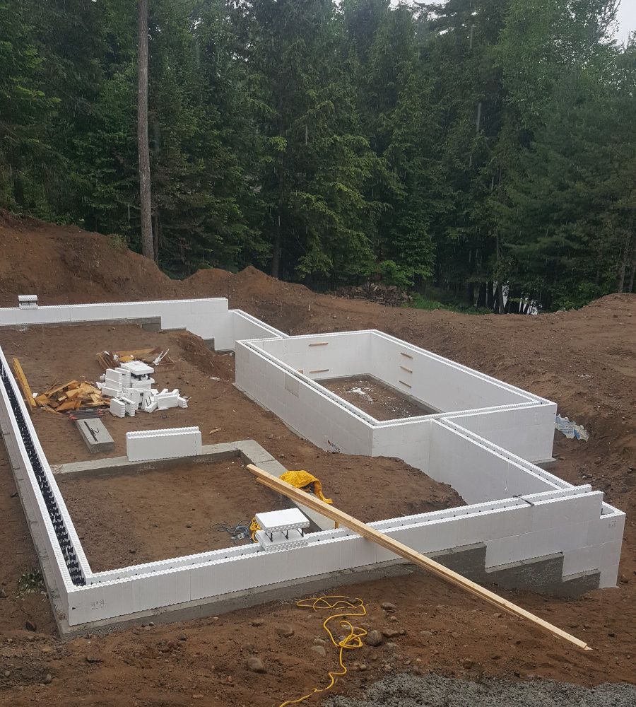 View of a partially finished ICF foundation