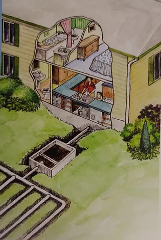 Illustration of septic system leaving house